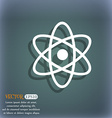 Atom physics icon On the blue-green abstract vector image