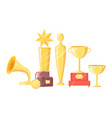 awards on pedestal icons set vector image