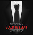 black suit black tie event invitation template vector image vector image