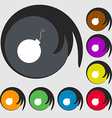 bomb icon sign Symbols on eight colored buttons vector image vector image