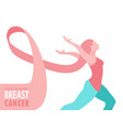 breast cancer care pink ribbon hair woman concept vector image vector image