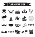 carnival icon set black silhouette style party vector image vector image