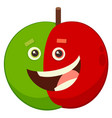 cartoon apple fruit character vector image