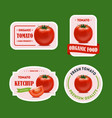 cartoon tomato badges or labels set vector image