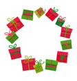 christmas gifts boxes round frame with empty space vector image