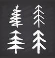 christmas tree hand drawn set pine trees vector image