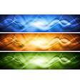 Colourful abstract banners with waves vector image vector image