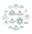 crown royal logo icons set simple style vector image vector image