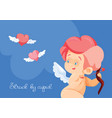 cupid hunting with archey bow flying hearts cupid vector image vector image