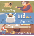 cute funny pug dog in different situations pugs vector image