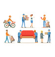 delivery service workers set couriers characters vector image vector image