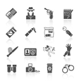 Detective icons set black vector image vector image