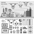 drone delivery line flat line monochrome vector image vector image