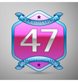 Forty seven years anniversary celebration silver vector image vector image