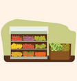 fruit and vegetables shelf with fresh healthy food vector image vector image