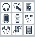 gadgets icons set headphones wireless headset vector image vector image