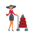 girl with luggage vector image