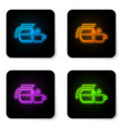 glowing neon coffee pot with cup icon isolated on vector image vector image