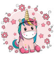 greeting card unicorn with flowers on a pink vector image