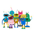 group cartoon character robots vector image