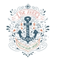 Hand drawn vintage label with an anchor and vector image vector image