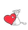 happy kitten hugging a heart vector image