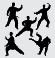 martial art fighter silhouette vector image vector image
