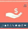 money in hand dollar symbol icon vector image