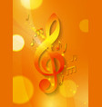 Music Notes on Abstract Orange Background vector image