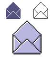 pixel icon open empty envelope in three vector image vector image