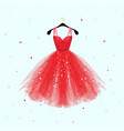 red dress for valentine day party card vector image vector image