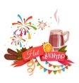 Red ribbon with hot quentao for Brazil june party vector image vector image