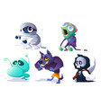 scary halloween characters ghost zombie vector image