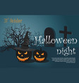 scary halloween pumpkin on cemetery vector image