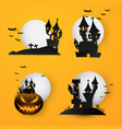 set castle halloween text banner background paper vector image
