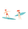 set people in swimwear surfing in sea young vector image