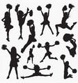 silhouettes cheerleader 2 vector image vector image