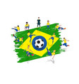 soccer player team with brazil flag background vector image