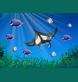 stingray and many fish under the ocean vector image vector image
