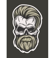 Stylish hipster skull Line art style vector image
