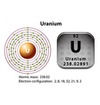 Symbol and electron diagram for Uranium vector image
