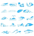 Wave symbols set for design isolated on white vector image