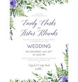 wedding floral invite card with flowers vector image