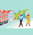 woman and man returning from christmas shopping vector image vector image