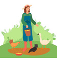 woman farmer in overalls stands on green lawn and vector image