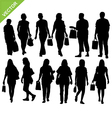 woman shopping silhouette vector image vector image