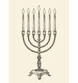 Hanukkah menorah Vintage sketch vector image