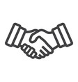 business handshake line icon contract agreement vector image