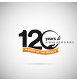 120 years anniversary logo with ribbon and hand vector image vector image