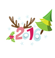 2016 new years invitation with pine tree vector image vector image